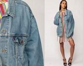 Levis Denim Jacket Trucker Oversized Jean Jacket 80s Denim Jacket Blue Levi Coat 1980s Vintage Retro Grunge Biker Hipster Extra Large xl