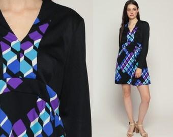 Mod Mini Dress 70s Babydoll Black Empire Waist Boho Op Art Geometric Print Vintage Long Sleeve 60s Bohemian Psychedelic Large