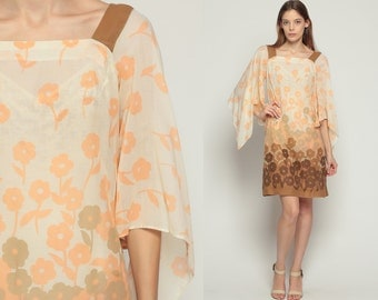 ANGEL SLEEVE Dress 70s Mod Mini FLORAL Sheer Bohemian 1970s Bell Boho Hippie 60s Shift Vintage Garden Party Cocktail Peach Extra Small xs