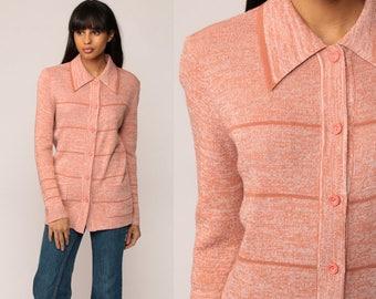 Boho Cardigan Striped Sweater 70s Hippie Boho Space Dye Orange 1970s Bohemian Button Up dyed Seventies Hippie Small Medium