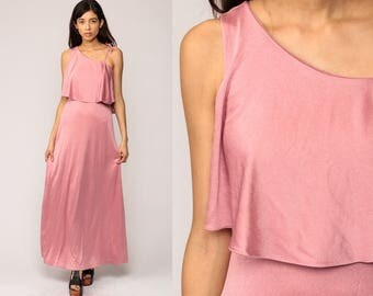 70s Maxi Dress ONE SHOULDER Party 1970s Disco Boho Pink Grecian Asymmetrical Prom Vintage Gown Bohemian Drape Long Sleeveless Small Medium