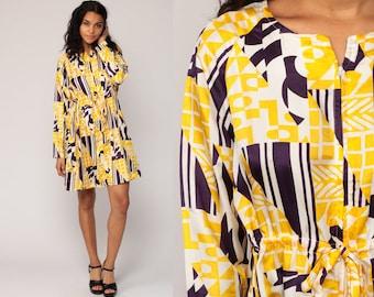 Geometric Dress 60s Mod Mini 70s Mini High Waisted Front Zip Long Sleeve Yellow Hippie Boho Vintage 1970s Minidress gogo retro Large