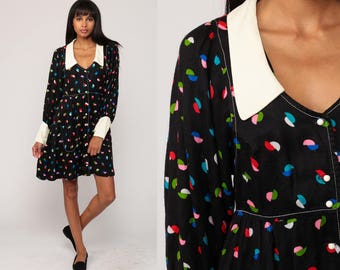 70s Mini Dress Babydoll Bohemian Mod Black Geometric Print Empire Waist 1970s Puff Sleeve Vintage Boho MiniDress Button Up Medium