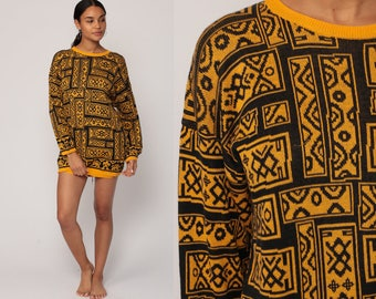 Knit Sweater 80s Slouchy retro GEOMETRIC Tribal Print Mustard Yellow Black Pullover Grunge 1980s Vintage Retro  Medium