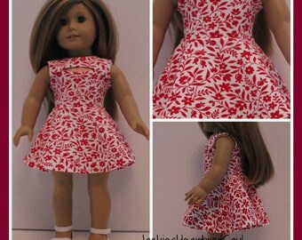 Red Floral Modern Knit Dress  Fits 18 inch Doll