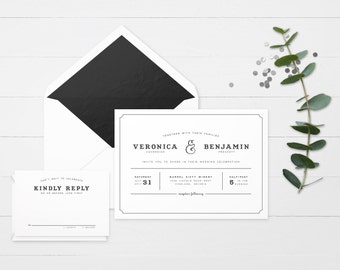 The 'Keira' Modern Floral Wedding Invitation Suite (Sample)