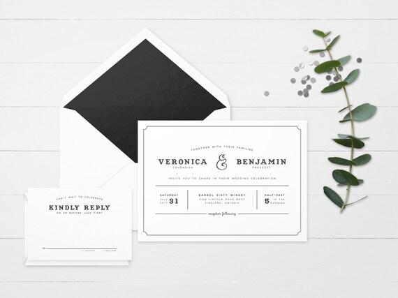 The 'Keira' Modern Floral Wedding Invitation Suite (Sample)