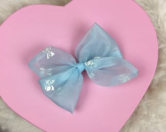 Vintage Sheer Organza Baby Blue Bows Rosie Bow Barrette for Baby, Newborn, Infant, Toddler, Child, Girl, or Adult