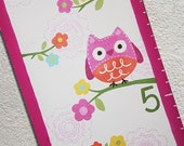 Custom Growth Chart Canvas Owls Birds Flowers