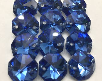 12 Blue Iridescent 14mm 2-Hole Chandelier Crystals Connectors (S-PB)