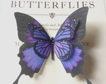 Hand Cut silk butterfly hair clip - Large Purple Swallowtail Butterfly with Swarovski Crystals