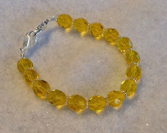 Yellow Czech Fire-Polished Glass Beaded Bracelet Medical Alert Allergy ID Replacement Bracelet or Watchband by madeforUjewelry on Etsy