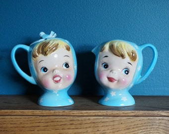 Vintage Napco Ceramic Japan Miss Cutie Pie Sugar and Creamer Set VGC / Retro Kitsch Kitchenware Collectible