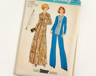 Vintage 70s Womens Size 22.5-24.5 Dress or Top w Attached Cardigan and Pants Simplicity Sewing Pattern 7227 FACTORY Folds / b45-47 w40-42.5