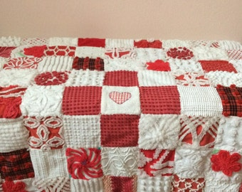 HEARTS & FLOWERS ~ A Handmade Vintage Cotton Chenille Patchwork Quilt - Ready to Ship ~ SALE