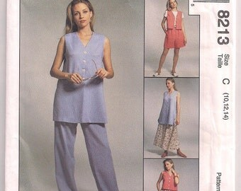 Vest and Pants, Shorts and Skirt McCalls 8213, Pants Pattern, Skirt Pattern, Mix Match Wardrobe, Easy to Sew Beginners Pattern, 10 12 14