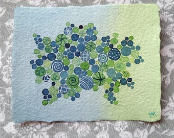 Bubbles - Spring - Small Original Watercolour Painting