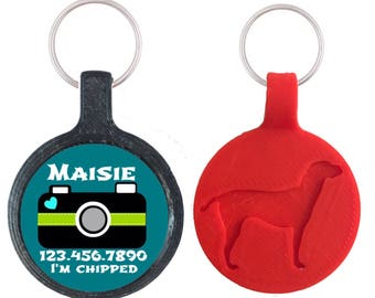Cute Camera Personalized Dog ID Pet Tag Custom Pet Tag You Choose Tag Size & Colors- 9 Colors Available