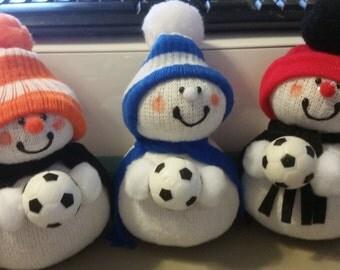Soccer Snowmen- OOAK Choose your school colors