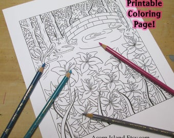 Adult Coloring Book Page - Serenity Bridge with Lillies, Trees, and Water - Instant Download - Printable