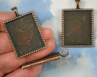 3 Rectangle Bezel Settings Blank Charms Pendants Copper Tone Rope Edge - Resin or Polymer Clay Fill  (P2003)