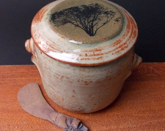 Large Stoneware French Butter Crock With Clay Knife ~ Classic Tree Design ~ holds 2 sticks