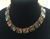 Vintage Matisse Renoir Solid Copper Speckled Enamel Link Necklace