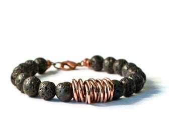 Lava Rock & Antique Copper Aromatherapy Diffuser Bracelet, Essential Oil Jewelry