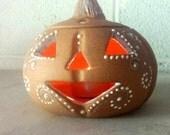 Pottery Chick terra cotta pumpkin candle holder