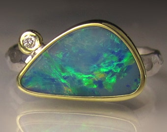Boulder Opal Ring, 18k Yellow Gold and Sterling Silver Australian Opal Ring, Opal Ring, Opal Diamond Ring