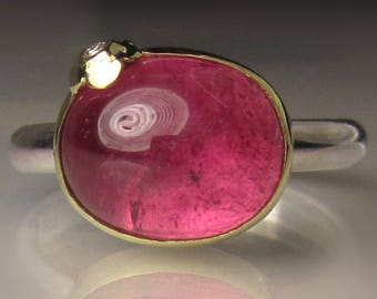 Pink Tourmaline Ring, 18k Gold and Sterling Silver Pink Tourmaline Cabochon Ring