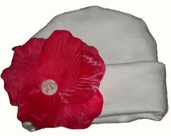 Preemie and Newborn Girl's Hot Pink Rose Petal Hat