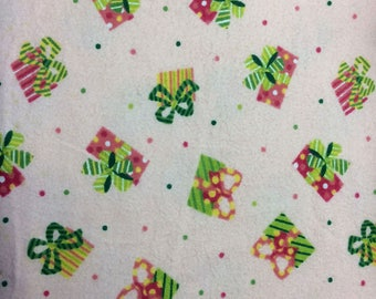 Christmas Presents Flannel Print 100% Cotton Flannel Fabric