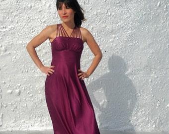 CLEARANCE Vintage 1980s Plum Satin Gown Purple Party Dress XS/S
