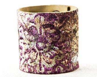 Leather Jewelry For Women Cuffs Bracelets Floral Purple