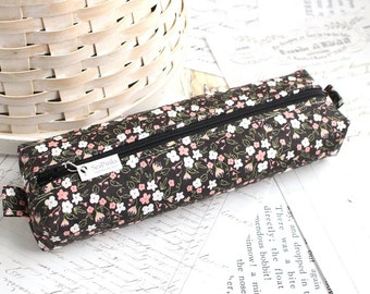 Pink and Black Floral Pencil Case Floral Boxy Pouch Black Floral Print