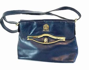 Spring SALE 25% Vintage 70s Etienne Aigner Handmade Leather Handbag Navy Blue Shoulder Bag Adjustable Strap Top Handle Brass Snap Flap Satch