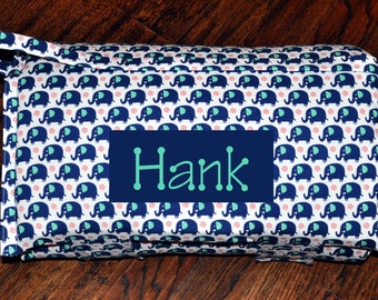 Nap Mat - Monogrammed Navy Elephants Nap Mat with a Turquoise Minky Dot Blanket