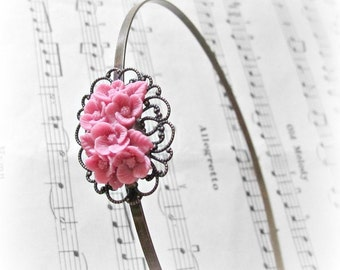 Pink Botanical Headband. Hair Accessories Flower Floral. Alice Band Cabochon Filigree. dspdavey Rose Bouquet Handmade For Her Girls Corsage