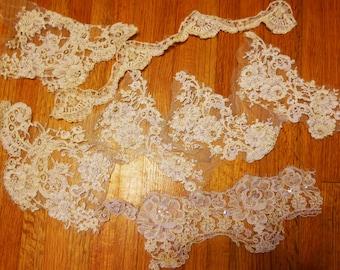 Reembroidered Alencon Beaded Lace Scrap Lot