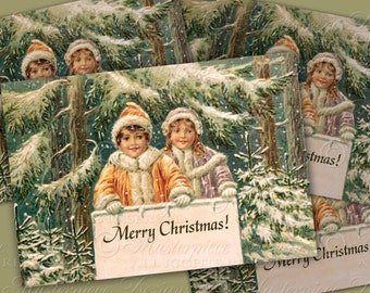 Merry Christmas Victorian Children Tags - Printable 2.5x3.5 Inch Hang Tags, Gift Tags, Instant Download and Print Digital Sheet