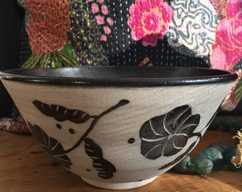 Hand Thrown Asian Pottery  Flowered Large Black/ White Bowl. Textured Exterior with Black Satin Interior. Serving Bowl