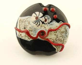 Lampwork Glass Bead, SRA Organic Focal Lentil Bead - Black, Gray, Ivory, Red