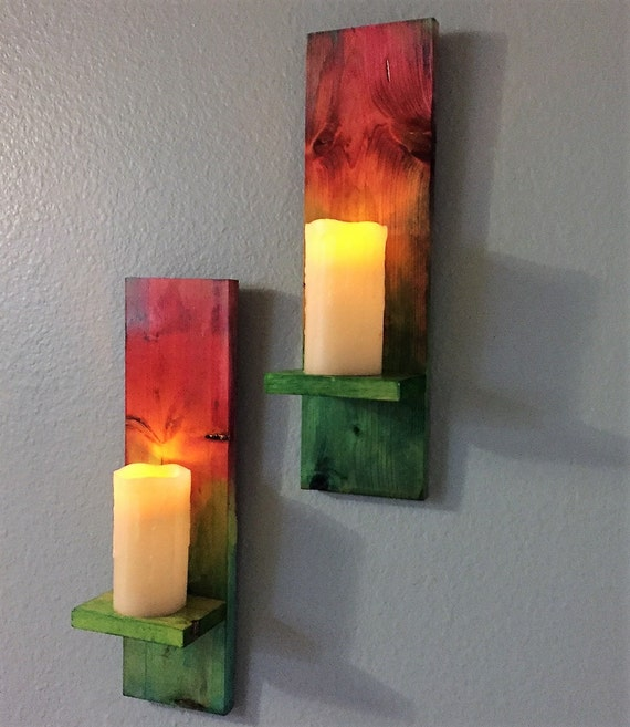 Wall Sconces For Led Candles : Tie Dye Wall Sconce LED Candles Custom Candles Wall