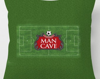 Football pitch Man Cave, printed soft suedette cushion /pillow
