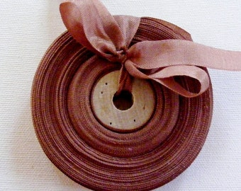 Vintage 1930's-40's French Woven Ribbon -Milliners Stock- 5/8 Inch Gorgeous Cinnamon
