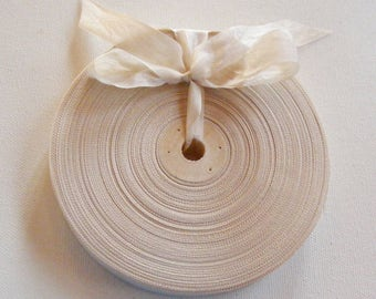 Vintage French 1930's-40's Woven Ribbon -Milliners Stock- 5/8 inch Creamy Beige