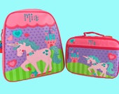Child's Personalized Stephen Joseph GoGo UNICORN Themed Backpack and Lunchbox School Set-Monogramming Included In Price