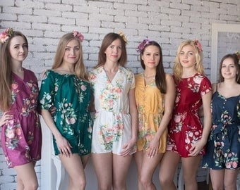 Jewel Toned - Dreamy Angel Song Pattern - Mismatched Rompers By Silkandmore - Alternative to Bridesmaids Robes, Bridesmaids Rompers, Gifts