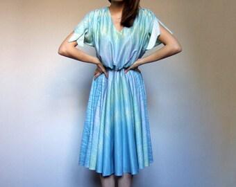 Pastel Blue Dress Summer Dress 70s Dress Vintage Dress Simple Sundress - Medium to Large M L